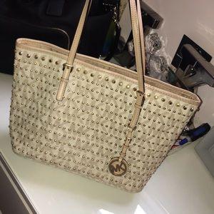 MK white studded handbag